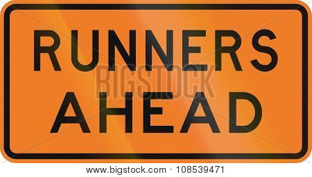 New Zealand Road Sign - Runners Ahead