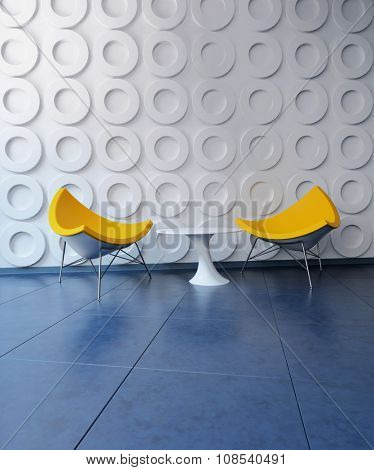 Two Contemporary Yellow Chairs and Small White Side Table in Room with Circular Pattern on Wall - Interior of Modern Sitting Room or Lobby. 3d Rendering.