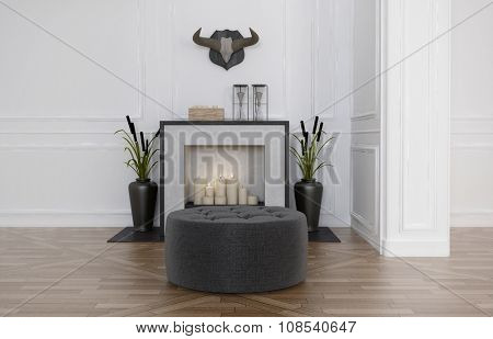 Pouffe in front of a fireplace decorated with romantic burning candles and flanked by two vases with bull rushes in a living room with parquet floor and panelled walls. 3d Rendering.