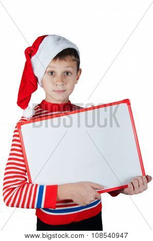 Boy In Christmas Costume Holding White Cardboard Isolated