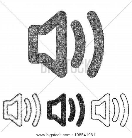 Volume icon set - sketch line art