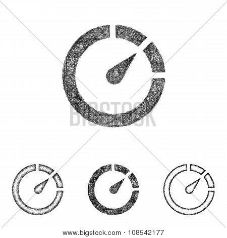 Chronometer icon set - sketch line art