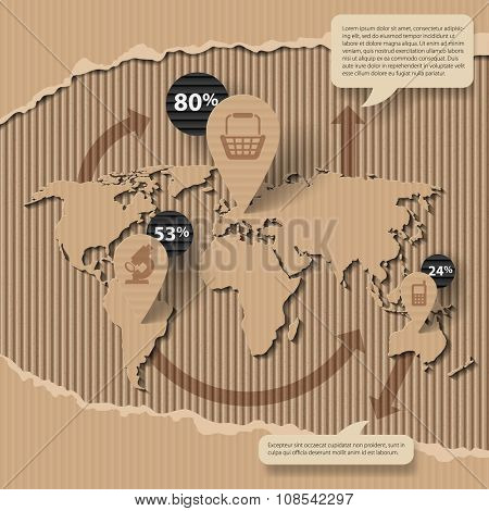Corrugated cardboard business template with world map and icons. Web page design. Vector illustration