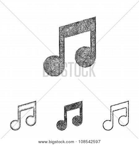 Music note icon set - sketch line art