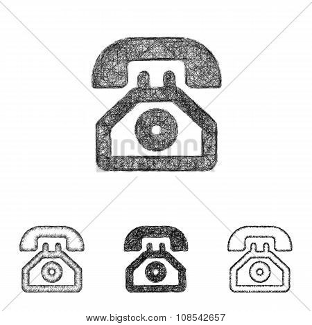Telephone icon set - sketch line art