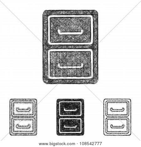 Archive icon set - sketch line art