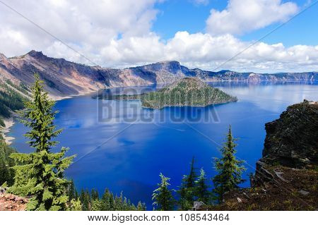 the incredibly beautiful Crater Lake, Oregon, a caldera left from a gigantic volcanic explosion with an island in it called Wizard island