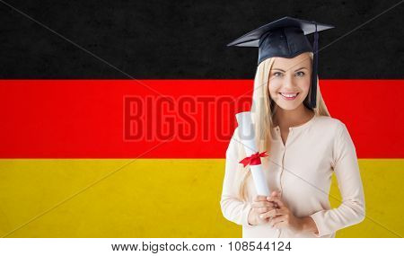 people, graduation, school and education concept - happy student girl in bachelor cap with diploma over german flag background