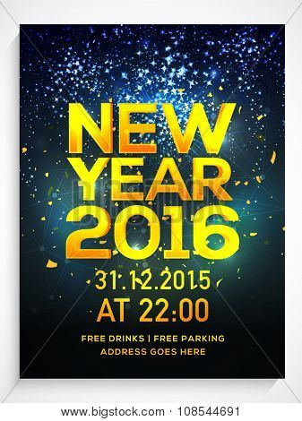 Shiny Flyer, Banner or Pamphlet with fireworks for Happy New Year's 2016 Eve Party celebration.