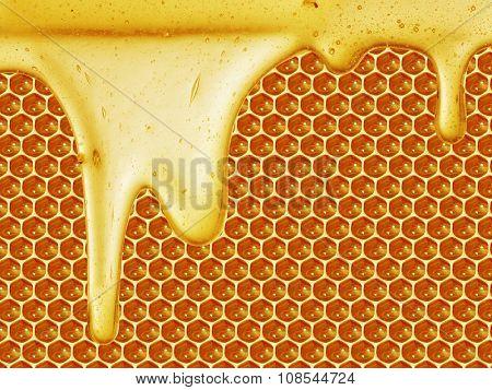 Closeup honey dripping on honeycomb background
