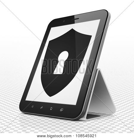 Protection concept: Tablet Computer with Shield With Keyhole on display