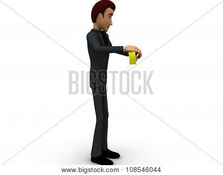 3D Man Measure Tape Concept