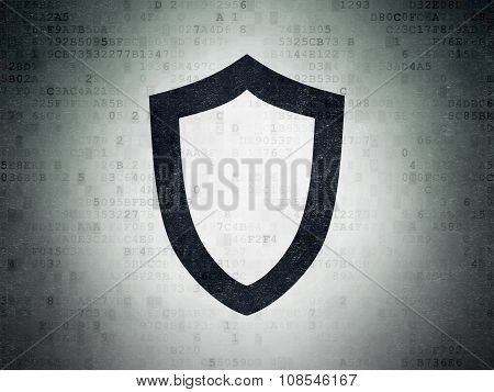 Security concept: Contoured Shield on Digital Paper background