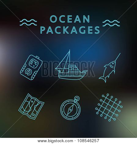 Ocean Packages Thin Line Icons On The Blur Background