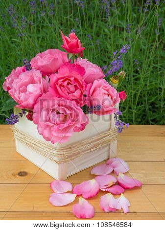 Pink Roses And Provence Lavender Bouquet In The Wooden Box
