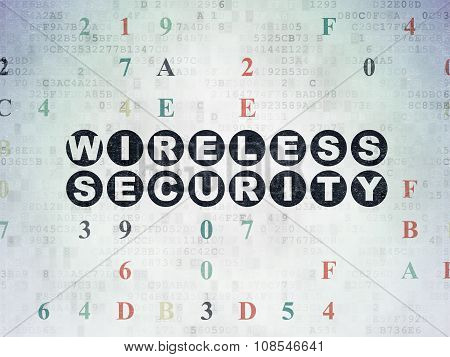 Safety concept: Wireless Security on Digital Paper background