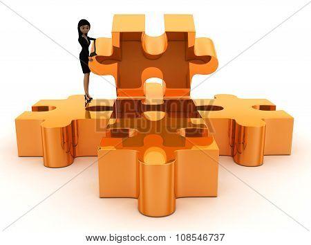 3D Woman Solving Last Puzzle Concept