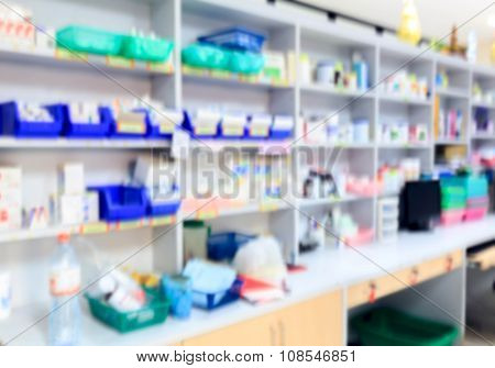 blur background drug shelves in drug store.