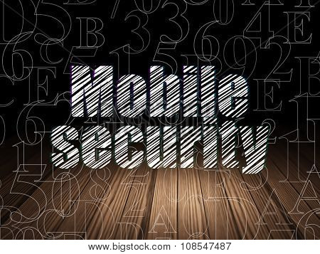 Protection concept: Mobile Security in grunge dark room
