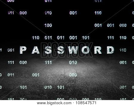 Safety concept: Password in grunge dark room