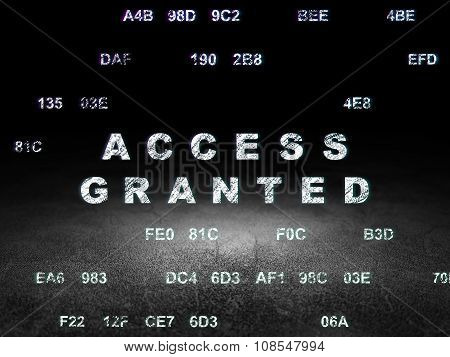 Protection concept: Access Granted in grunge dark room
