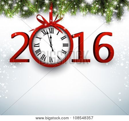 2016 New Year background with fir branch and clock. Vector illustration.