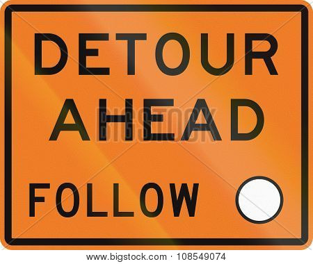 New Zealand Road Sign - Detour Ahead, Follow Circle Symbol