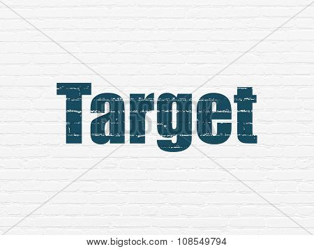Business concept: Target on wall background