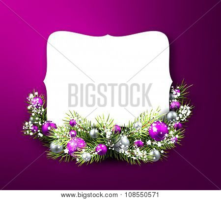 Christmas purple card with fir branch. Vector illustration.