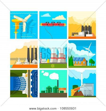 Energy Sources Symbols Set. Vector Illustration