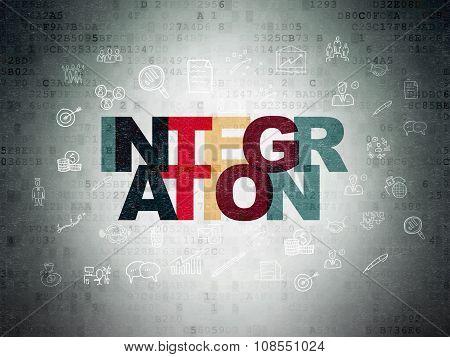 Business concept: Integration on Digital Paper background