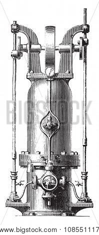 Pressure accumulator, vintage engraved illustration. Industrial encyclopedia E.-O. Lami - 1875.