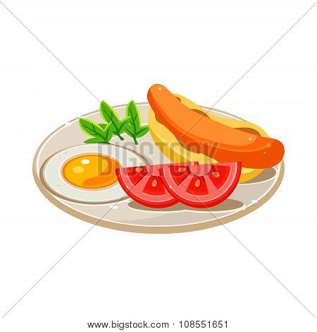 Breakfast Food Set with a Hotdog, Fried Egg and Tomato. Vector Illustration