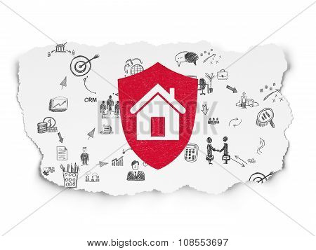 Finance concept: Shield on Torn Paper background