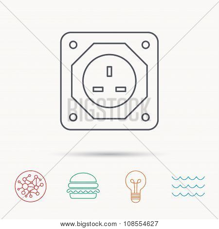 UK socket icon. Electricity power adapter.