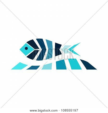Mosaic fish on the wave logo icon sea fishing ocean