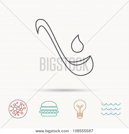 Soup ladle icon. Kitchen spoon sign.