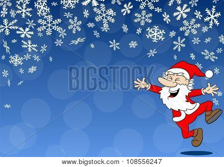 Christmas Background With A Cartoon Santa Claus