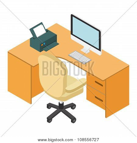 Computer desk workplace isometric 3d