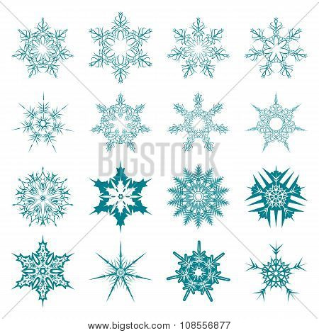 Set of snowflakes for the new year 2016.  linear round figures