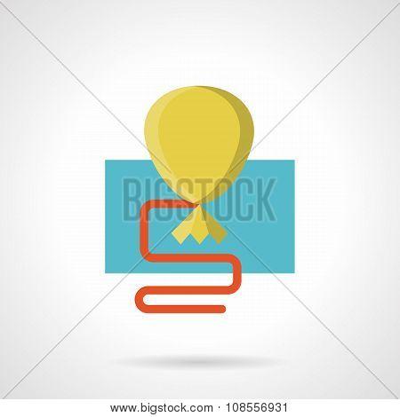 Flat color yellow balloon vector icon