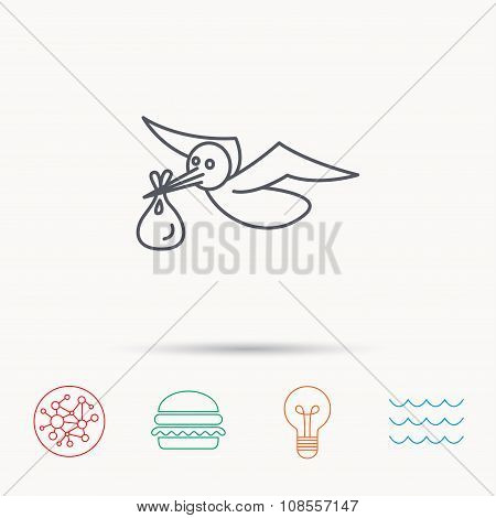 Stork with sack icon. Newborn baby symbol.
