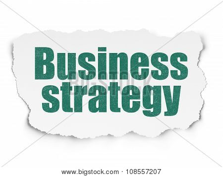 Business concept: Business Strategy on Torn Paper background