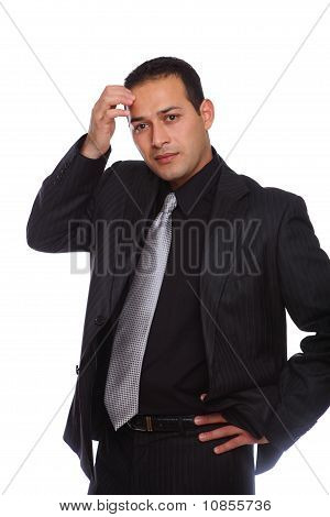 Businessman Thinking Touching Forehead