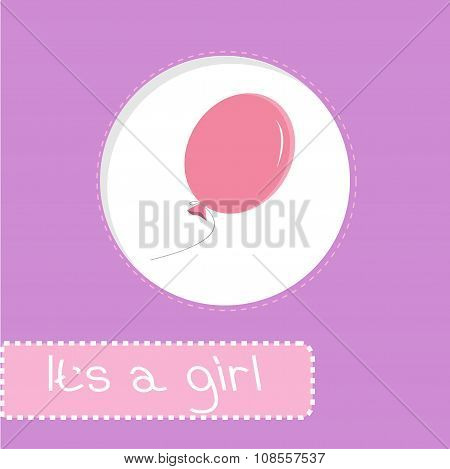 Baby Shower Card With Pink Balloon. It's A Girl
