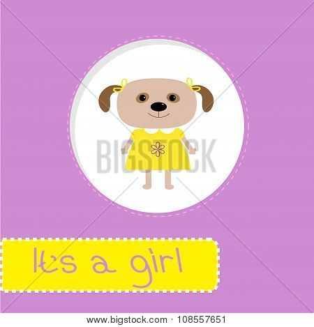 Baby Shower Card With Dog. It's A Girl