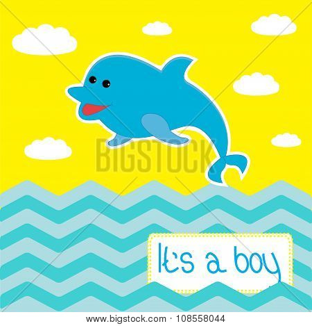 Baby Boy Shower Card With Cute Dolphin