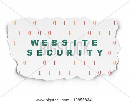 Web development concept: Website Security on Torn Paper background