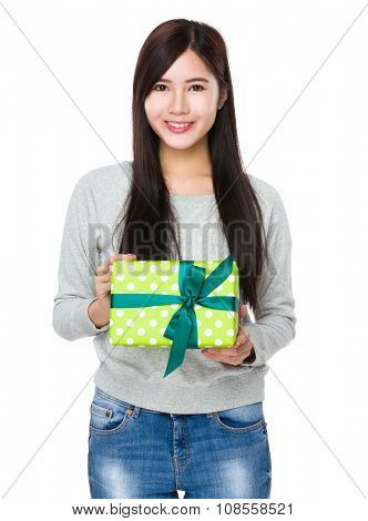 Young Woman hold with present box