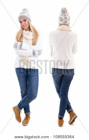 Front And Back View Of Beautiful Woman In Winter Clothes Isolated On White